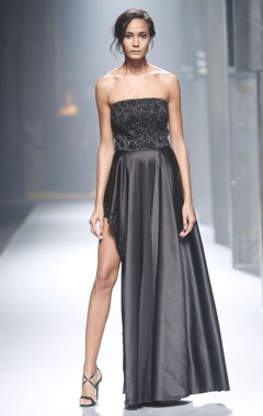 Black strapless asymmetric gown