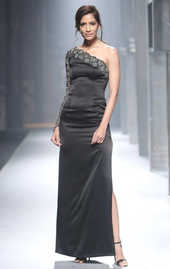 Black one shoulder style gown