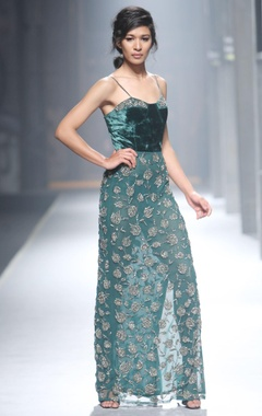 Green corset style gown