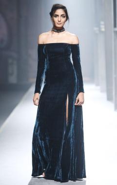 Blue velvet off shoulder gown