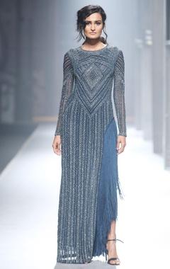 blue fringe design gown