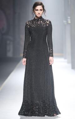 Black mesh cutwork gown