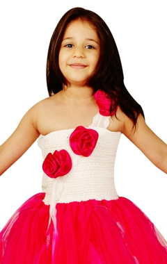 Pink & white flower-girl gown