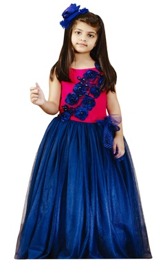 Pink & blue gown with satin sash
