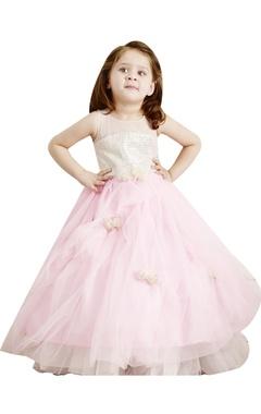 Pastel pink flared flowergirl gown