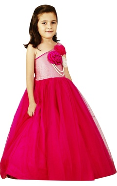 Pink pearl detailed balloon gown