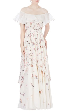 White thread embroidered gown