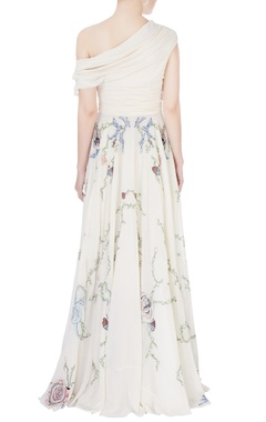 White off shoulder embroidered gown