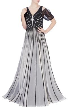 Black & white laser cutout gown