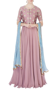 Purple embroidered anarkali set