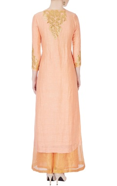 Peach gota embroidered kurta set