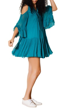 Blue drop waist pleated dress