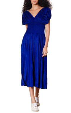 Blue smocked waist midi dress