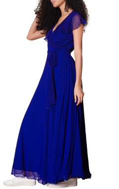 Blue wrap style gown