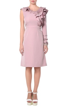 Pink ruffle crepe dress