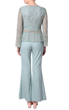 Teal green flared pant set