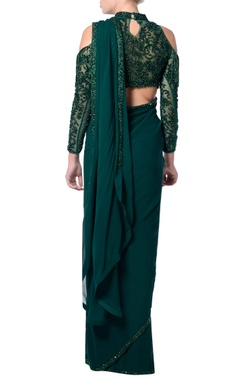 Green cold-shoulder fringe sari