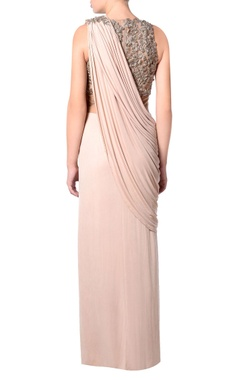 beige draped sheer sari