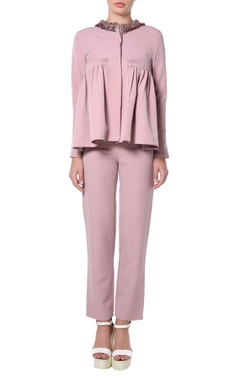 lavendar peplum top & pants