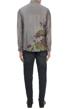 grey lotus hand painted shirt