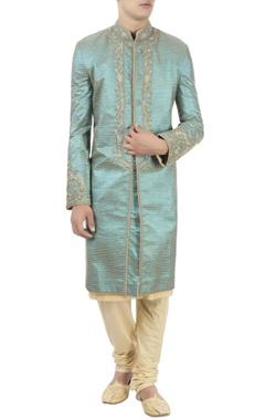 Barkha 'N' Sonzal Blue sherwani & gold kurta