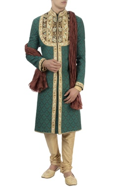 Barkha 'N' Sonzal Green embroidered sherwani with stole