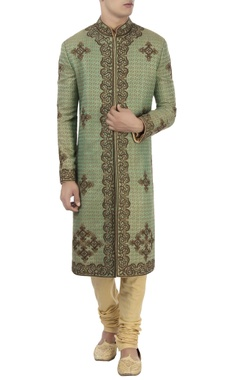 brown & green turkish style sherwani