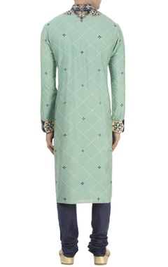 green & blue turkish pattern kurta