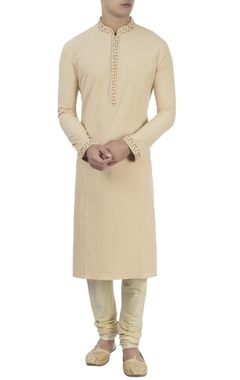 beige kurta with churidar pants