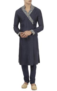 Barkha 'N' Sonzal Navy blue wrap style kurta
