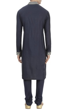 navy blue wrap style kurta