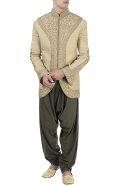 beige embroidered bandhgala & dhoti pants