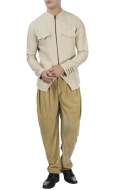 Barkha 'N' Sonzal Beige zipper jacket & dhoti pants