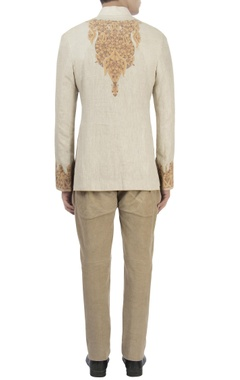 Beige chinar bandhgala & corduroy pants