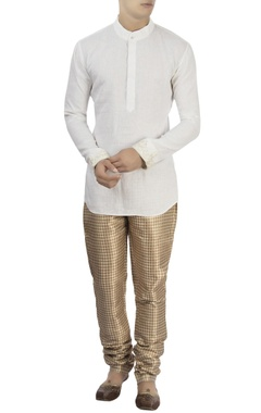 white kurta & metallic check pants