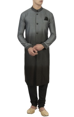 Black & grey jacquard kurta set