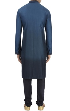 Navy blue jacquard kurta & churidar
