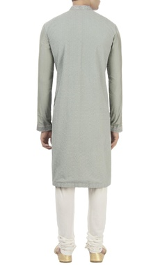 Grey resham embroidered kurta set