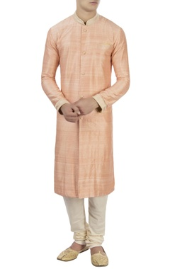 Peach raw silk kurta with churidar