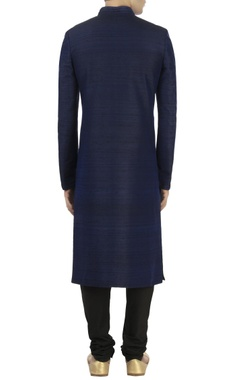 Blue raw silk sherwani