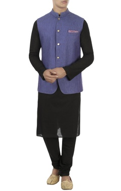 Purple & beige reversible linen nehru jacket