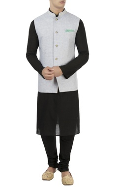 Beige & blue reversible nehru jacket