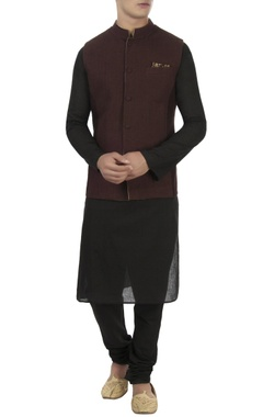 Beige jacquard patch nehru jacket