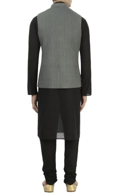 Grey matka silk nehru jacket