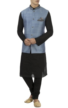 Ash blue zardozi embroidered nehru jacket