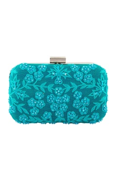 Blue clutch with thread embroidery