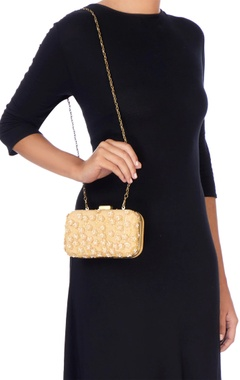 Beige & gold bead embellished clutch
