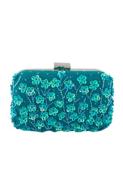 Blue clutch with floral embellished motifs