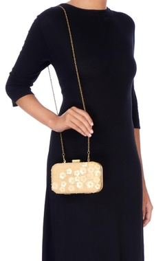 Beige floral sequin embellished clutch