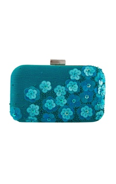 Blue thread embellished clutch